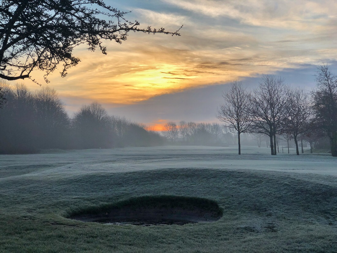 Frosty morning sunrise on the Bootle Golf Course