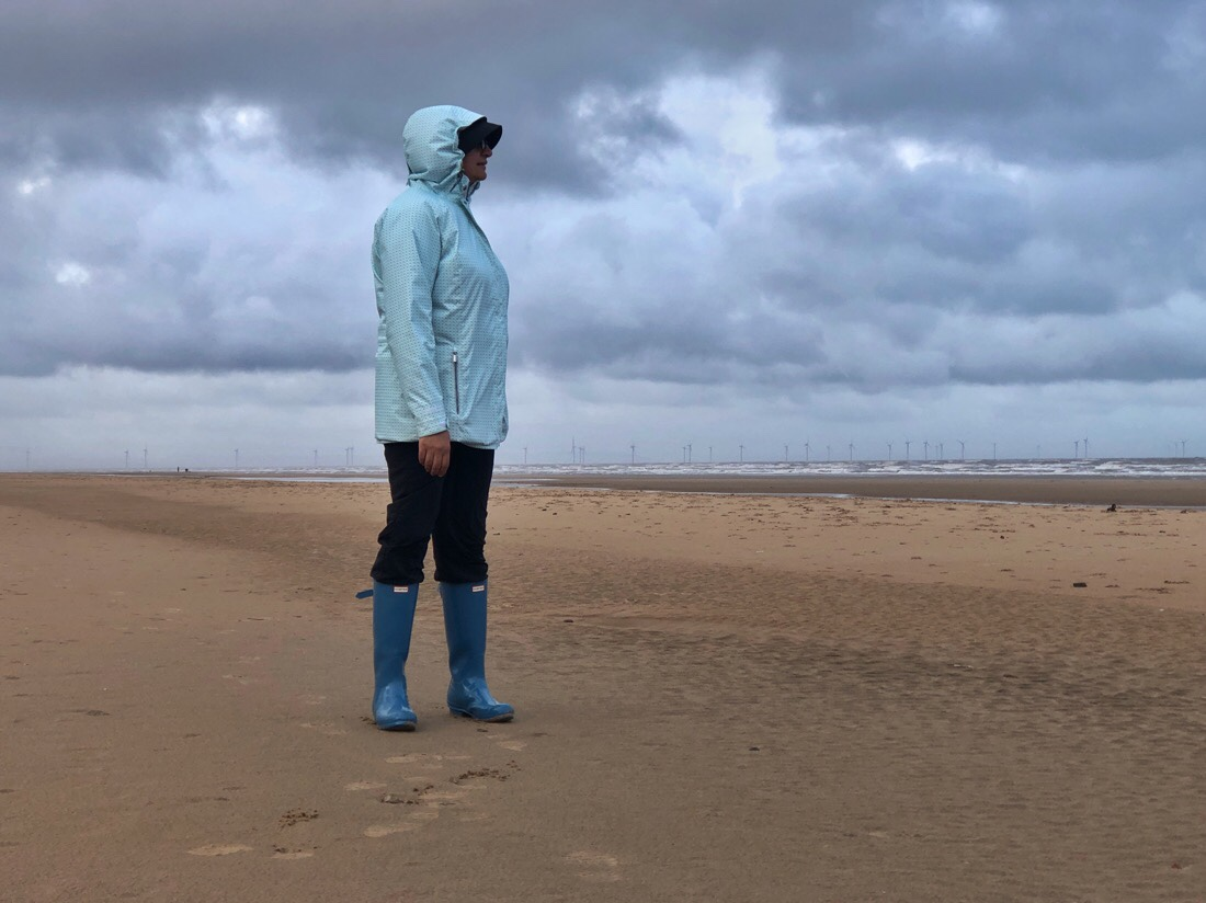The Reluctant Model enjoying a bracing walk on a wind swept Formby Beach in Merseyside, England