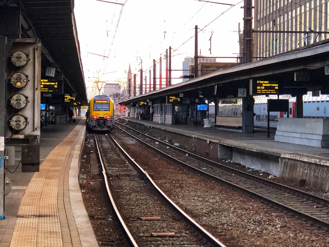 Early morning at Brussels Midi Station waiting for the train to Bruges