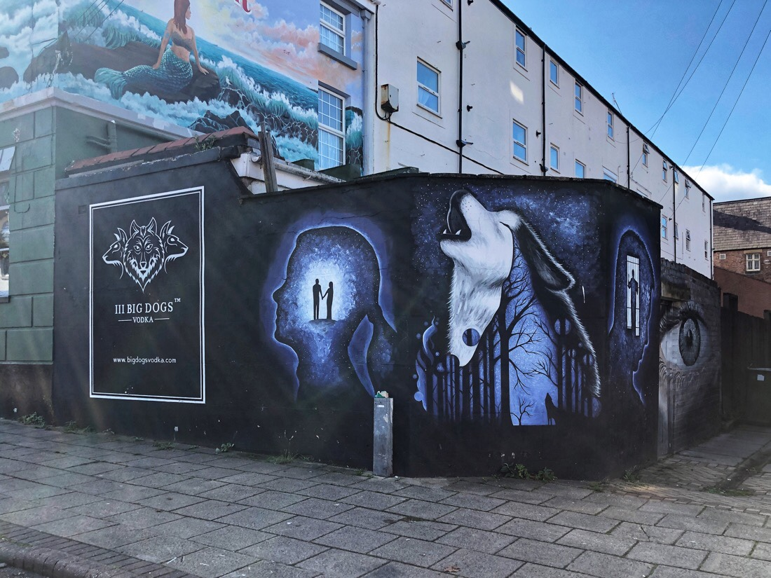 Street art in the Victoria Quarter of New Brighton on the Wirral in the UK