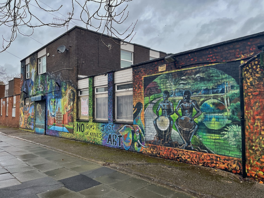 Street art on the buildings in the Toxteth area of Liverpool