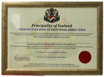 Principality of Sealand Noble Title Relationship Gift