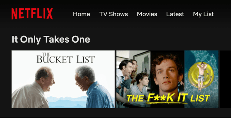 "A screenshot of Netflix's ""The F**K It List"" movie along with The Bucket List"