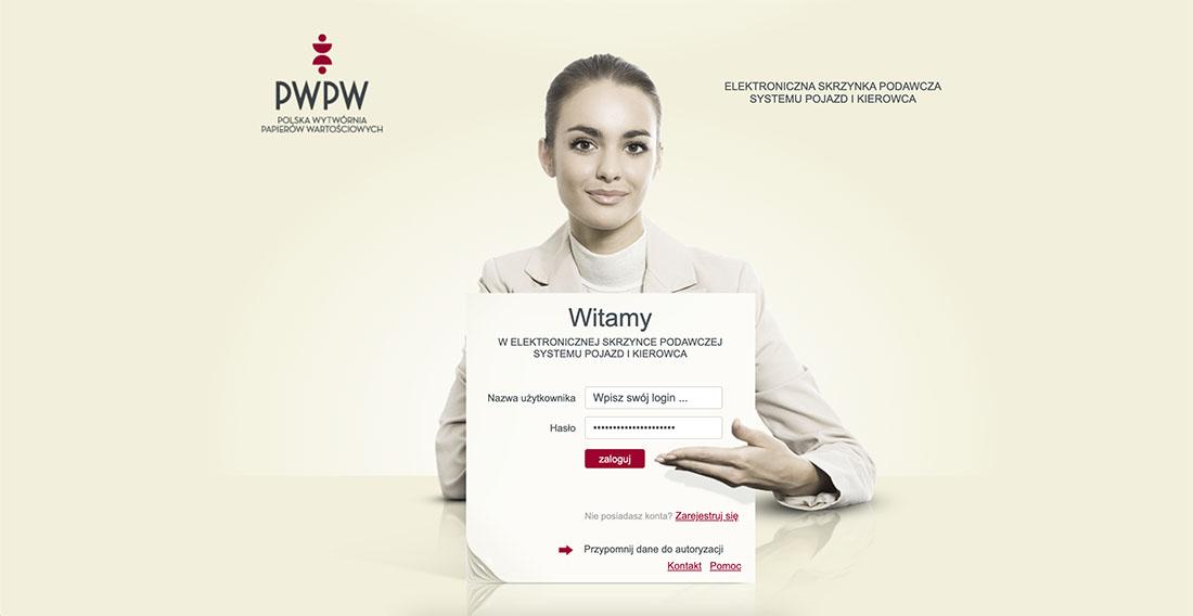 Strona logowania Elektronicznej Skrzynki Podawczej PWPW