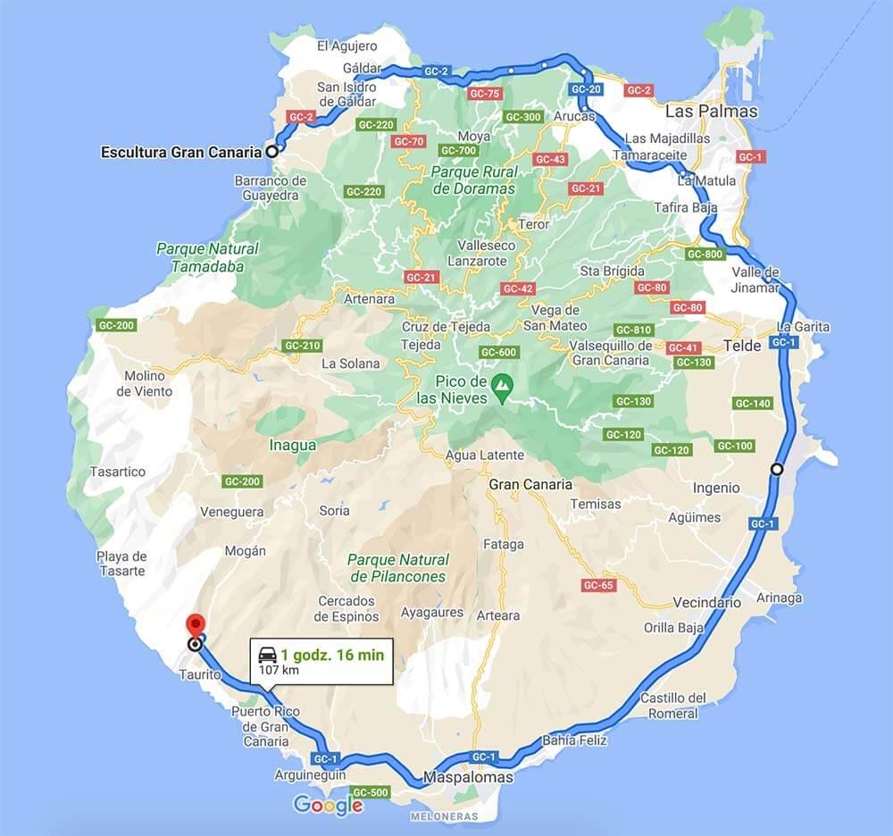 Mapa Gran Canarii z oznaczoną obwodnicą