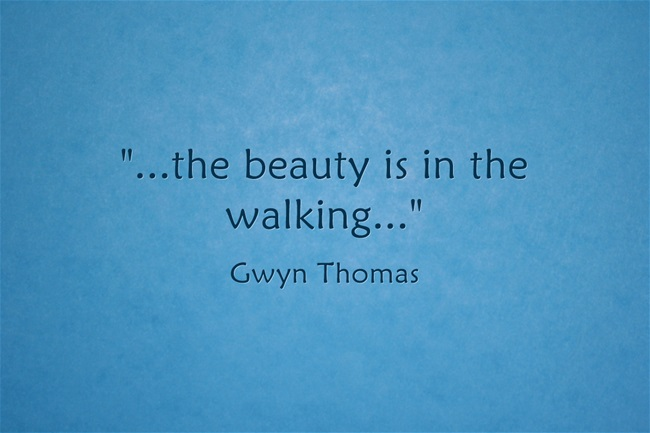 A quote to inspire us all to try out walking workouts - the beauty is in the walking by Gwyn Thomas.