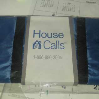 """Photo: Blue totebag reads """"House Calls"""" - given to Grandma last year when the United Healthcare nurse came out for her first visit 