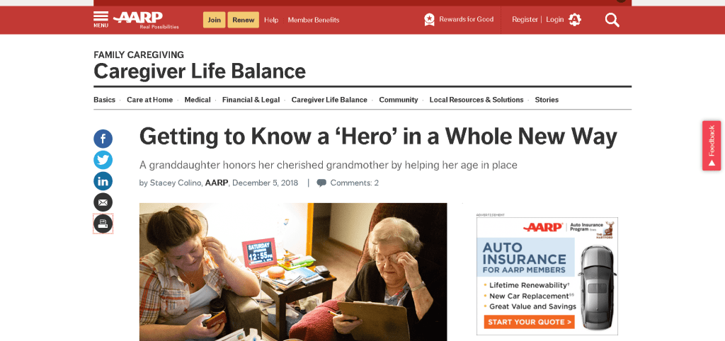 Screenshot: AARP Website feature on Rachel and Barbara