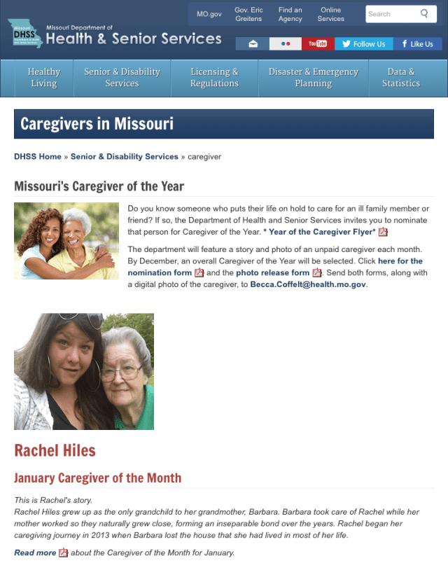 Screenshot: Missouri DHSS Caregivers page