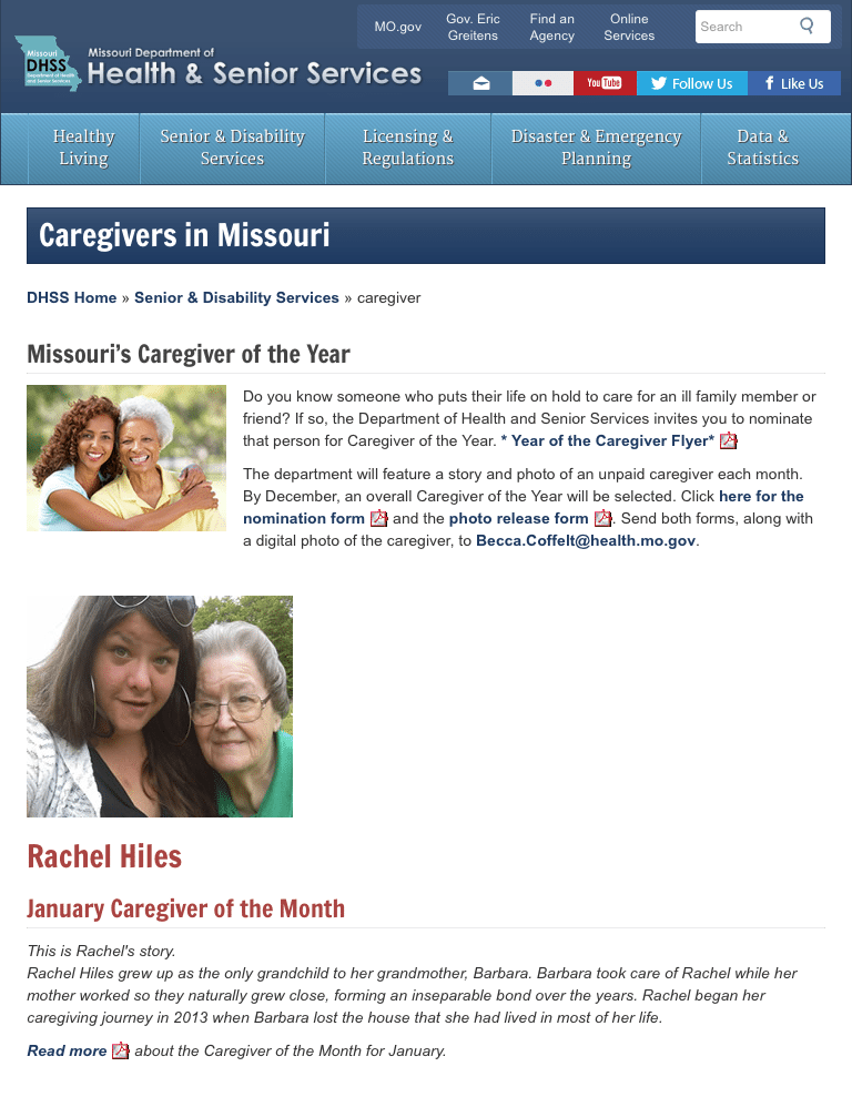 Screenshot: Missouri DHSS Caregivers page