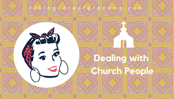 "Banner: White church icon with white text reads ""Dealing with Church People"" on a stained glass background 