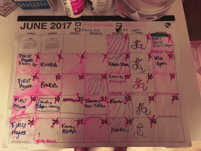 Photo: Monthly calendar, with 25 out of 30 days shaded in to show when family caregiver was present providing care