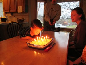 S had a little help blowing out his candles :)