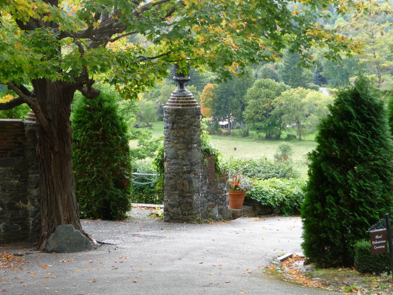 This pair of round columns (one is behind the maple tree) are only two landscape columns cylindrical in shape at Naumkeag. Is it coincidence that they stand next to the Arborvitae Walk, or was Steele winking at us?