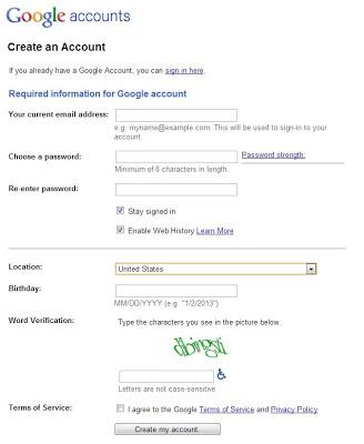 How to create a Blog - Create Google Account