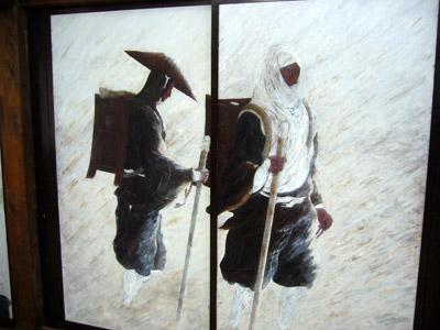 Manpukuji painting on sliding door - Ataka Pass