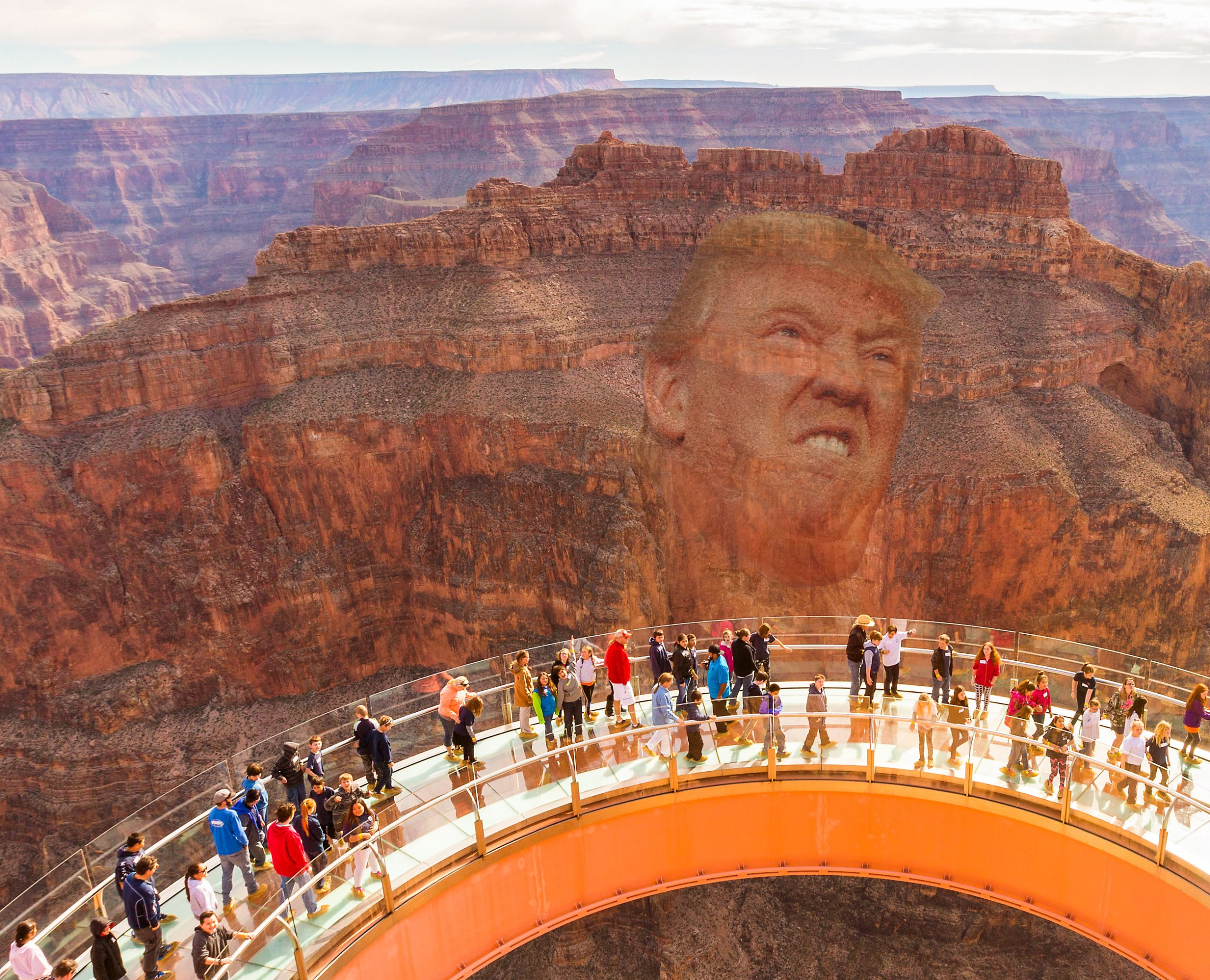 trump face carved into grand canyon dc satire