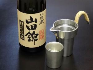 特別純米山田錦と錫の上燗コップ、タンポ