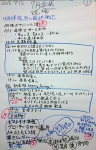 研修旅行の研修内容を検討した会議メモ