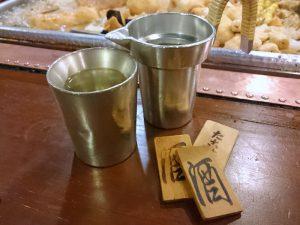 錫の上燗コップ、タンポと酒札