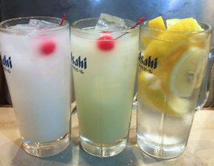 カルピス、メロンカルピス、氷レモンの酎ハイ