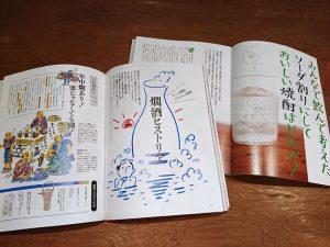 dancyu「続・日本酒。」の燗酒のページと「本格焼酎。」のソーダ割りのページ