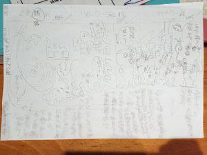 お客さまの進化の様子をイラストで表現したラフスケッチ