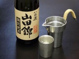 「特別純米 山田錦」と錫の上燗コップ、タンポ