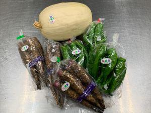 山添村の野菜(錦糸瓜、太牛蒡、万願寺唐辛子)