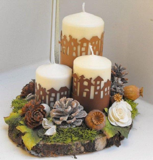 как украсить готовые свечи