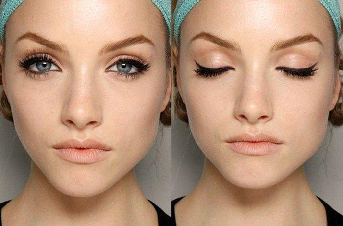 макияж для увеличения глаз стрелки