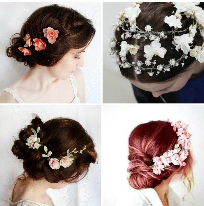 прически с цветами в голове