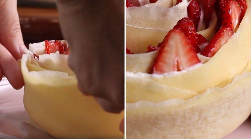 торт из блинов и клубники
