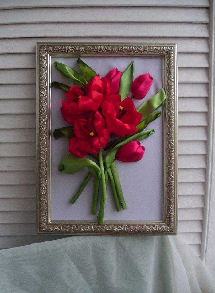 тюльпаны вышитые из лент