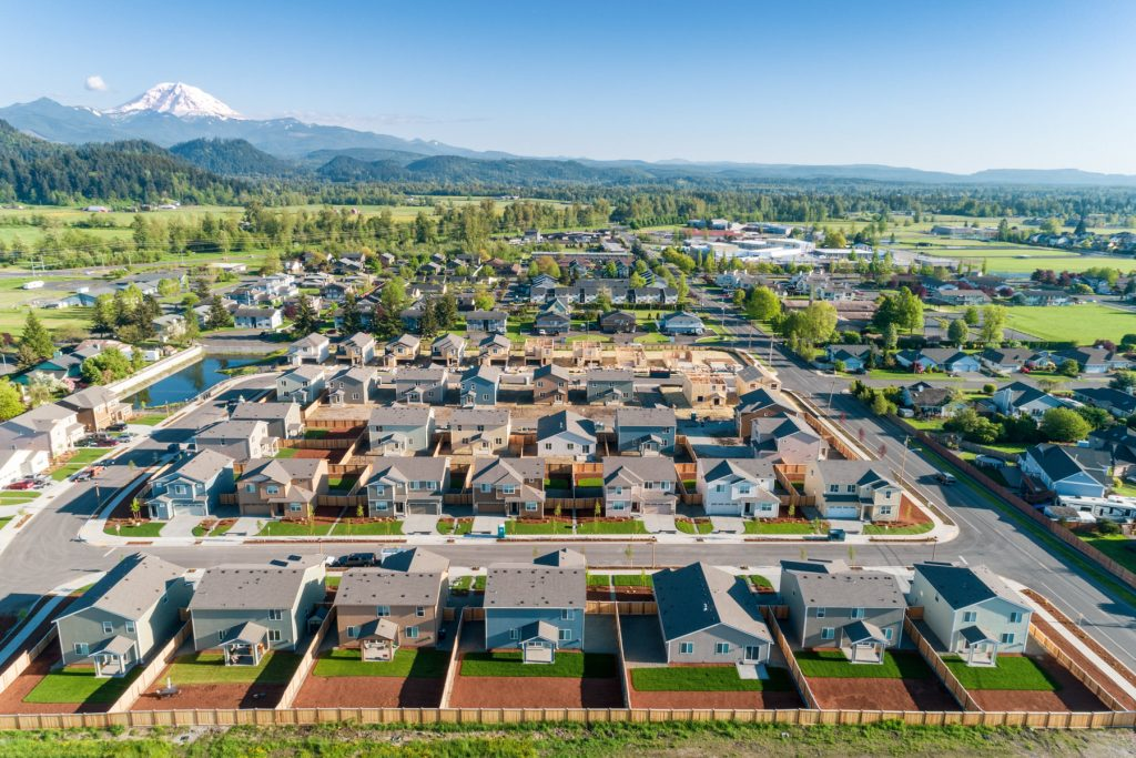 Aerial drone view in Olympia, Washington