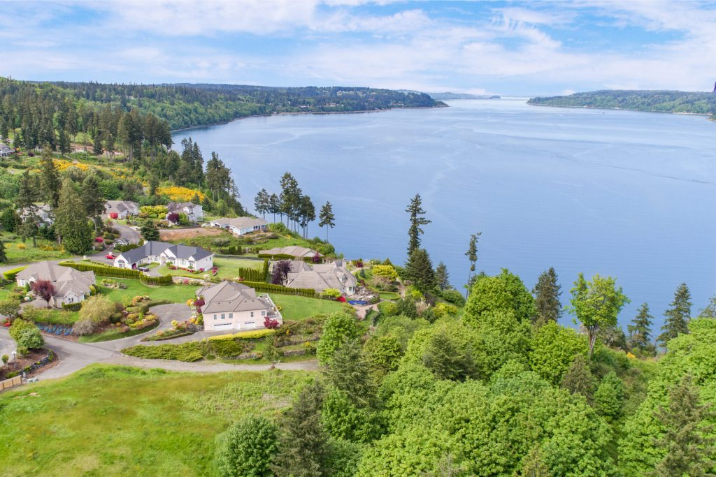 Aerial drone view in Gig Harbor and Tacoma, Washington