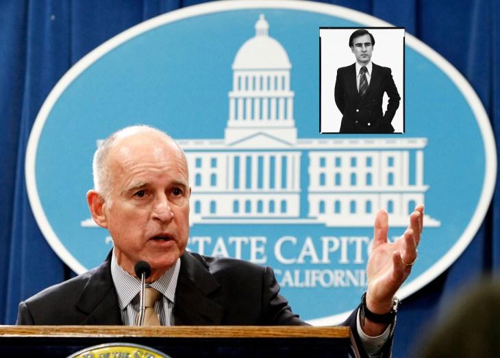 Jerry Brown nu en in 1976 (zie inzet)