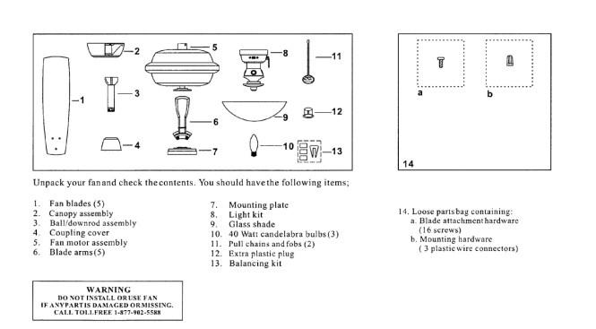Ceiling Fan Model Ac 552 Parts