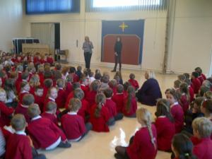 At Carlton Primary School assembly