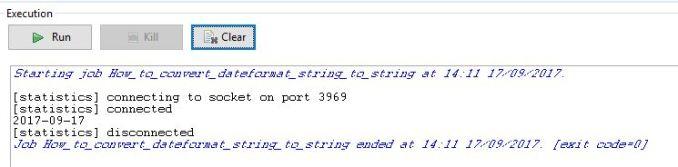 Date pattern string job Execution log