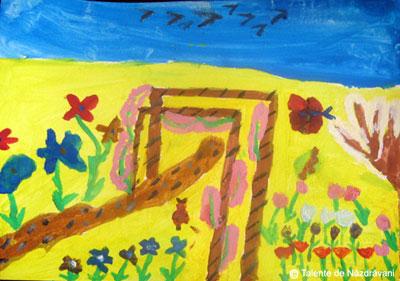 Grădina cu flori - pictură de primăvară