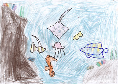 Andrei H., Bucureşti, clasa I Este ziua peştilor, s-au adunat în mijlocul oceanului la o petrecere.