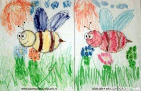 Peisaj de primăvară cu albinuță cusută