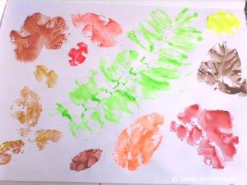 Pictură. Frunze te toamnă - ștampilare
