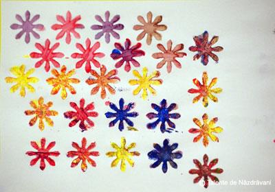 Flori de toamnă. Pictură cu ștampile