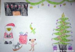 Anastasia Teofana T., Pascani, 6 ani Moș Crăciun împarte daruri / Dintr-o traistă fermecată. Scoate-ntruna cât ar scoate / Nu termină niciodată. Cai,pitici, păpuși, maimuțe...