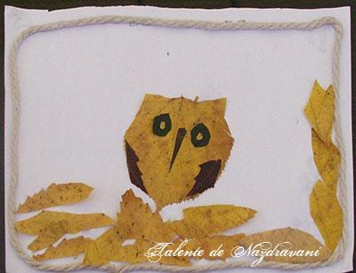 Bufniță - colaj de toamnă din frunze uscate