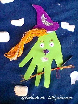 Vrăjitoare verde de Halloween - colaj
