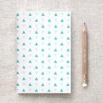 carnet triangles verts et bleus