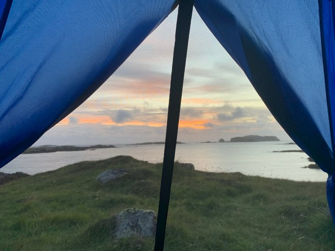 Sunset from inside a tent, reason to go camping